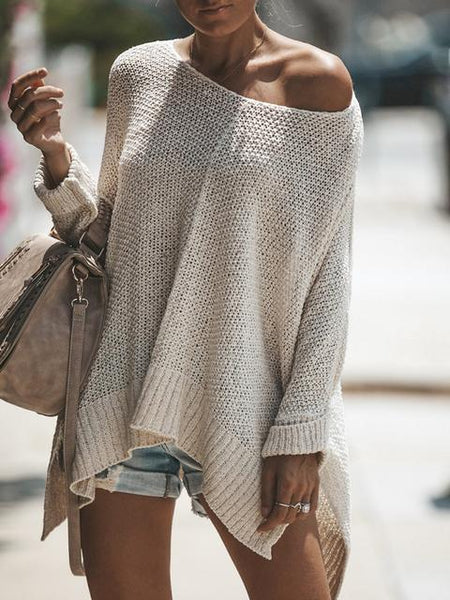 Loose Solid Color Pullover Sweater