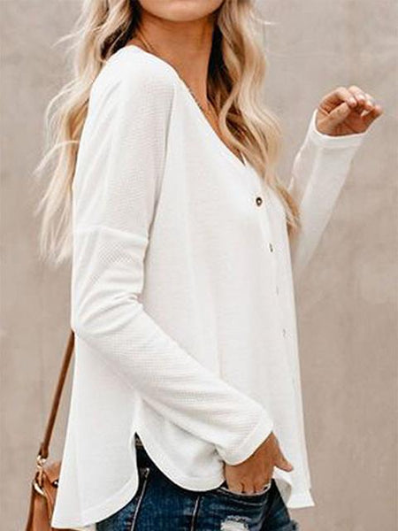 Loose Solid Color V-neck Buttons Top