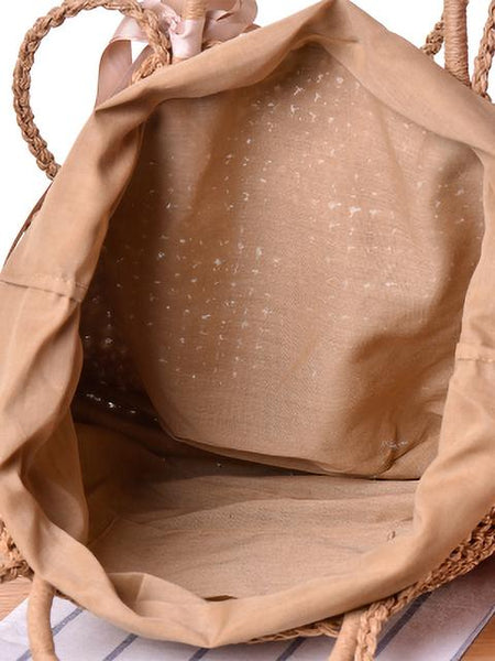 Shoulder Double Handle Straw Bags