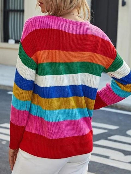 Multicolor Striped Knitted Sweater Coat