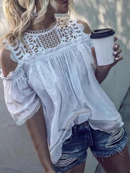 Off Shoulder Hollow Half Sleeve Shirt