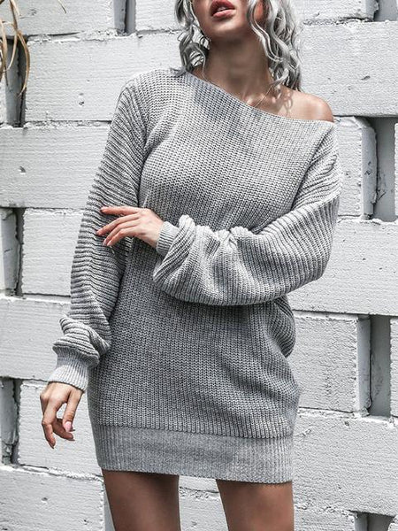 Off Shoulder Knitted Sweater Dress