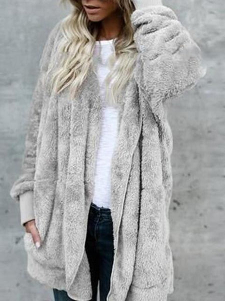 Open Front Hooded Cardigan Coat With Pockets