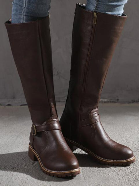 PU Chunky Heel Riding Boots
