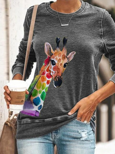 Painted Giraffe Print Long Sleeve Top