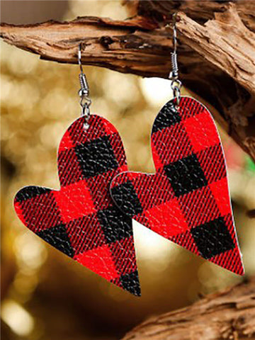 Plaid Heart Leather Earrings