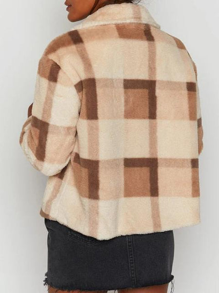 Plaid Stand Collar Wool Short Coat