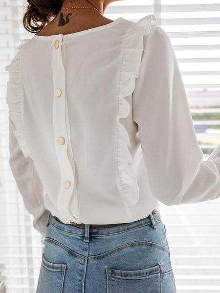 Pleated Trim Long Sleeve Shirt