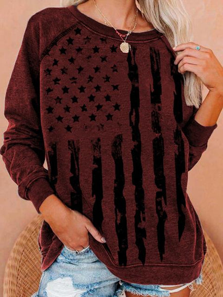 Print Round Neck Cotton Blend Sweatshirt