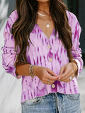 Tie-dye Long Sleeve V Neck Coat