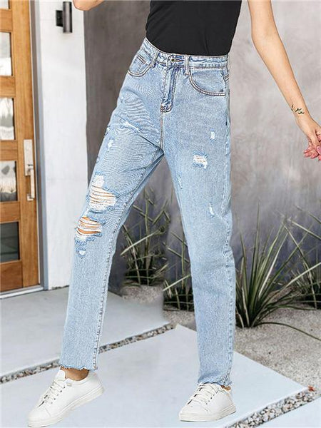 Ripped Loose Straight Leg Jeans