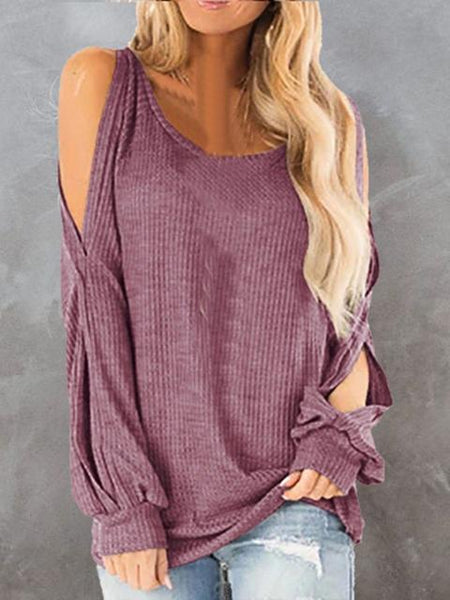 Round Neck Off Shoulder Lantern Sleeve Waffle Top