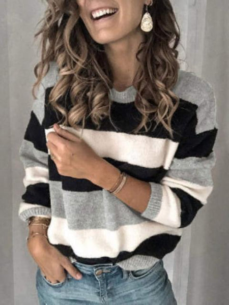 Round Neck Pullover Stripe Knit Sweater