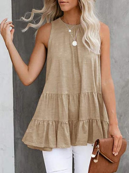 Round Neck Sleeveless Pleated Loose Tunic