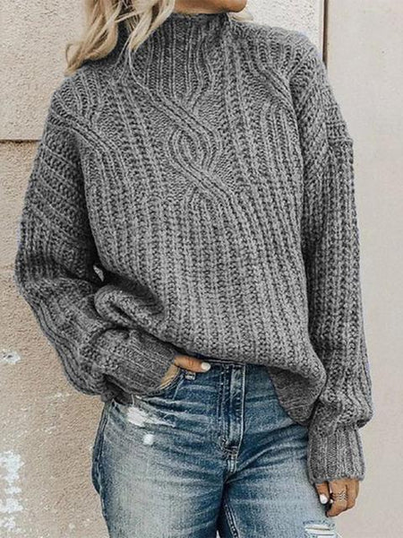 Round Neckline Solid Casual Loose Regular Sweater