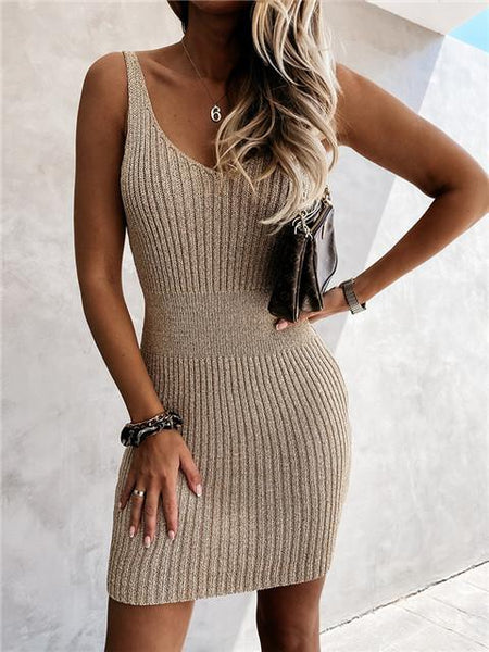 Sexy V Neck knitting Dress