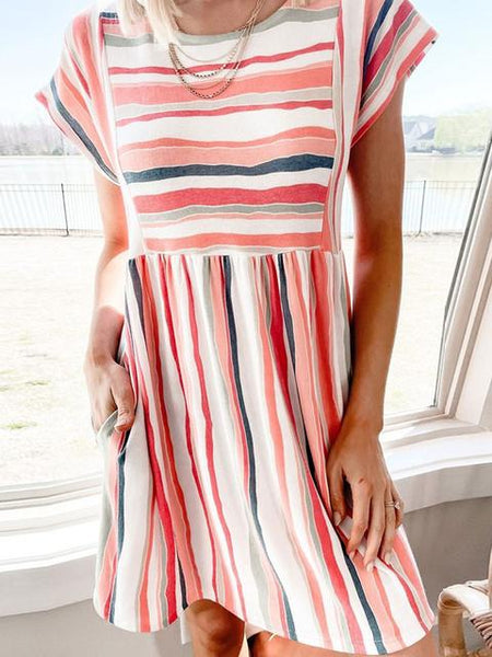 Casual Loose Stripe Large Swing Mini Dress