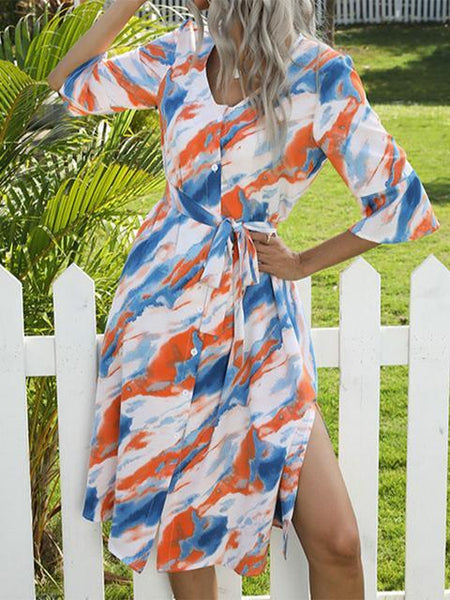 Printed Tie Dye  V Neck Lace Mini Dress