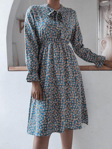 Print Casual Pleated Chiffon Midi Dress