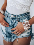 Sexy Ripped Fringed Denim Shorts