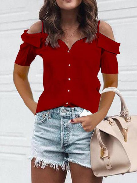 Short Sleeve One Shoulder Strap Blouse