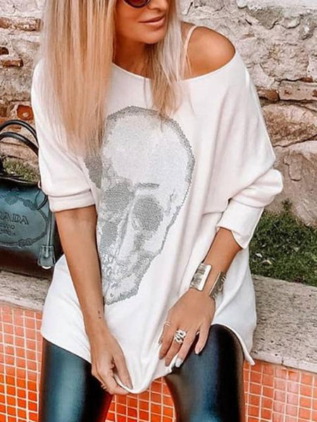 Skull Off Shoulder Long Sleeve Tunic Top