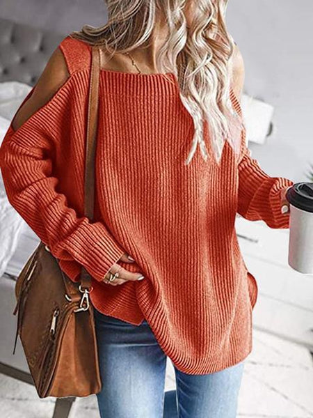 Solid Color Cold shoulder Knit Sweater