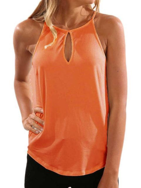 Solid Color Hollow Out Sleeveless Camisole