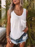 Solid Color Knit Tank Top With Pocket