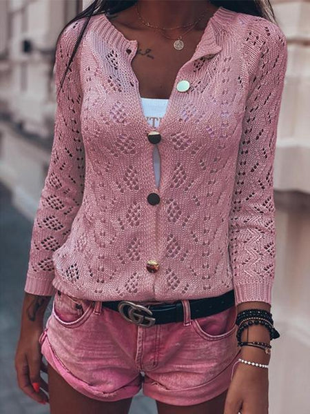 Solid Color Knitted Lightweight Cardigan