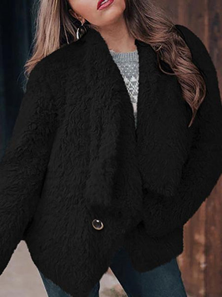 Solid Color Lapel Long Sleeve Thick Coat