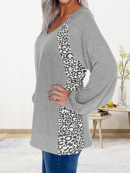 Solid Color Leopard Stitching Pullover Casual Top