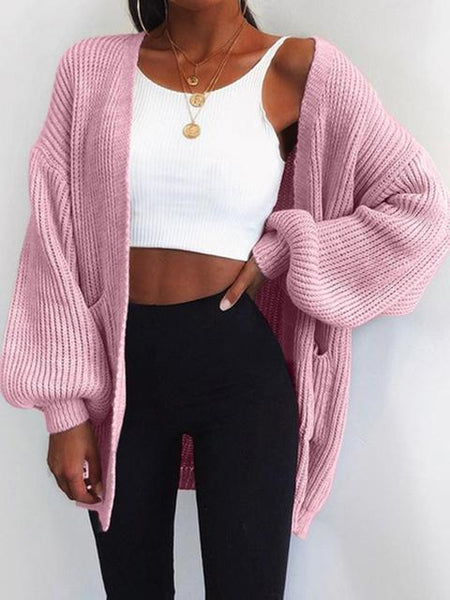Solid Color Long-sleeve Knitted Sweater Cardigan