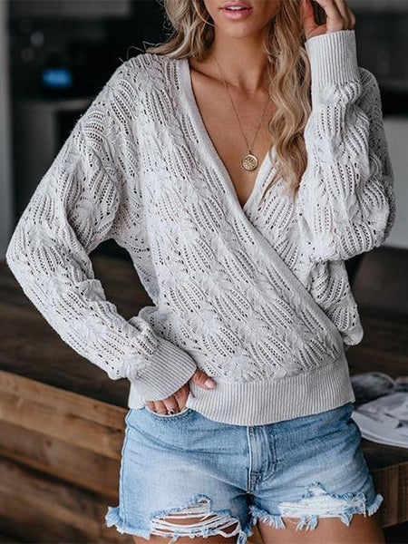 Solid Color Long-sleeved Hollow Knitted Top