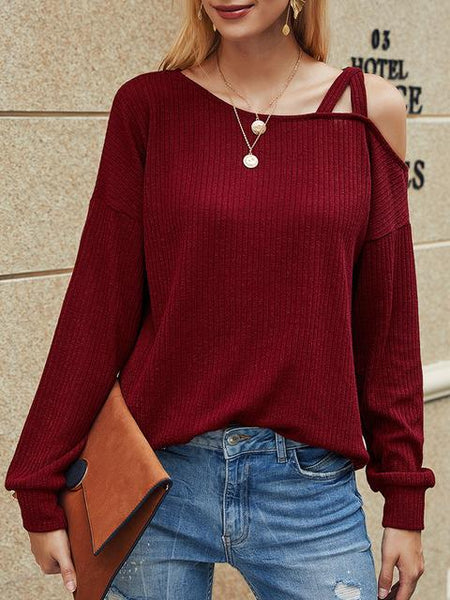 Solid Color Long Sleeved One Shoulder Top