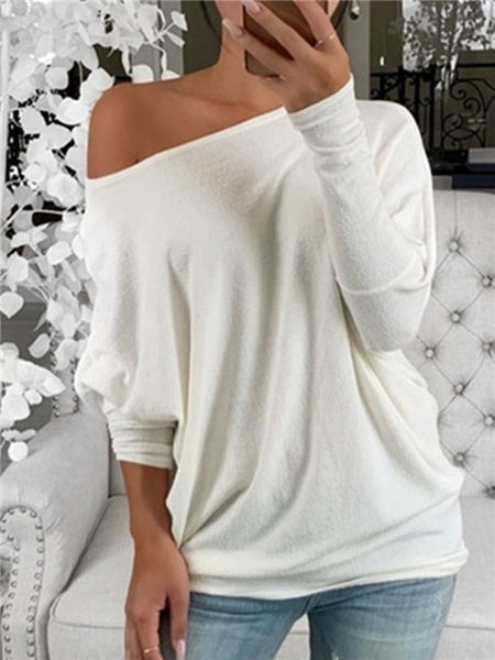 Solid Color One-shoulder Bat Sleeve Top