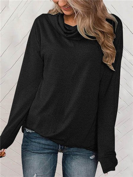 Solid Color Pile Collar Long Sleeve Loose Top