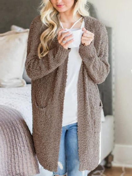 Solid Color Plush Sweater Coat With Pockets