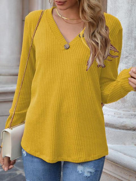 Solid Color V-neck Button Waffle Top