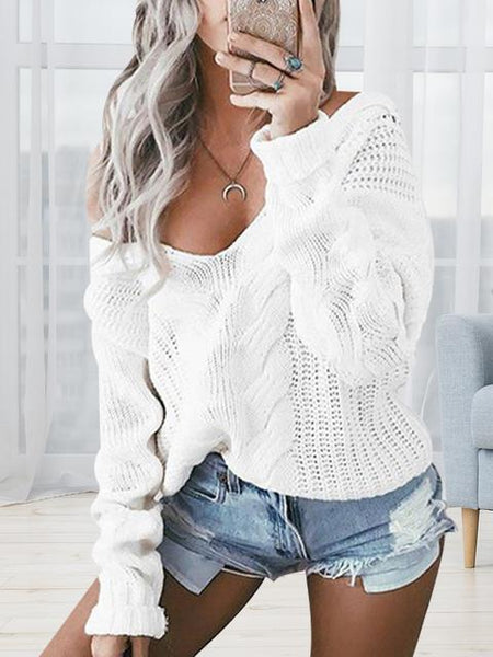Solid Color V-neck Twist Pullover Sweater