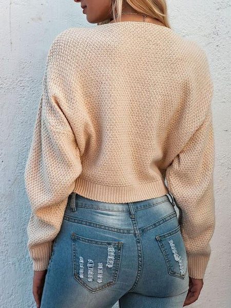 Solid Crew Neck Side Slit Short Sweater