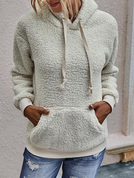Solid Drawstring Hooded Pullover Top