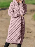 Solid Knitted Hooded Long Coat