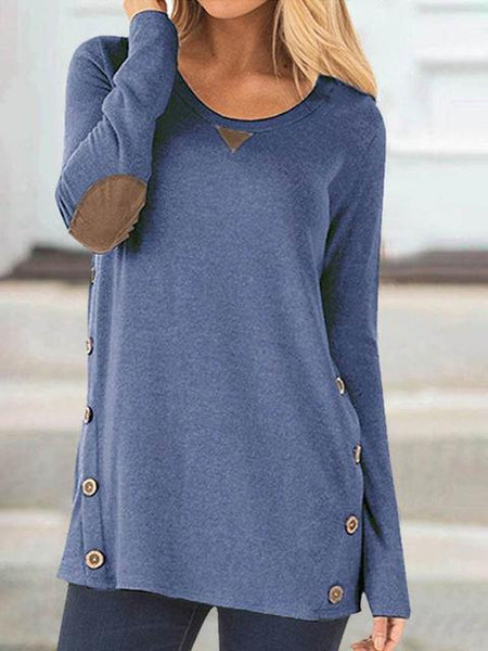 Solid Long Sleeve Button Patch T-shirt