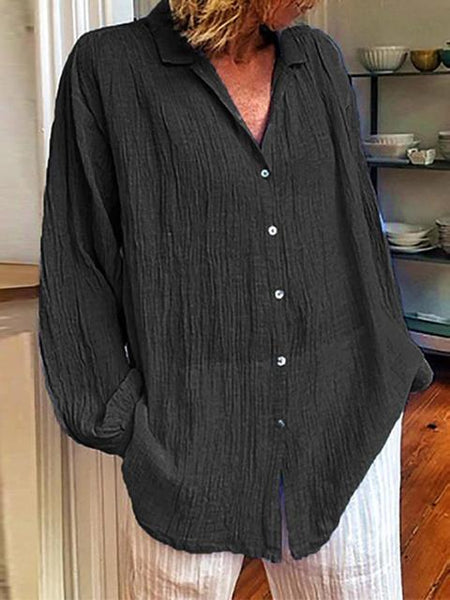 Solid Loose Single Breasted Shirt