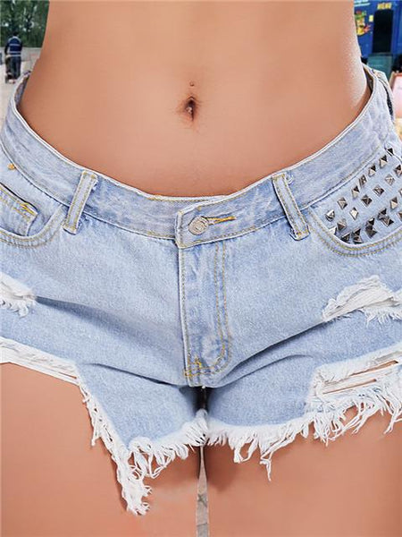 Solid Ripped Raw Hem Denim Shorts