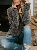 Solid Round Neck Sweater With Open Sleeves
