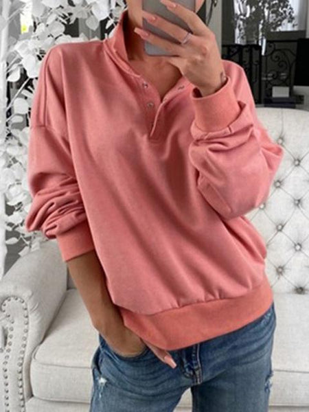 Solid Stand-up Collar Button Sweatshirt