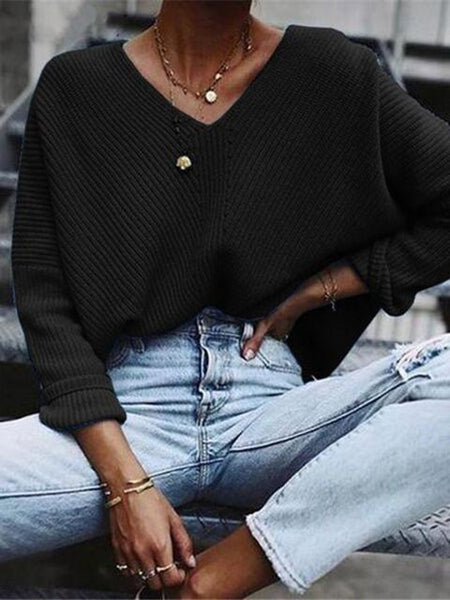 Solid V-neck Lightweight Sweater Pullover