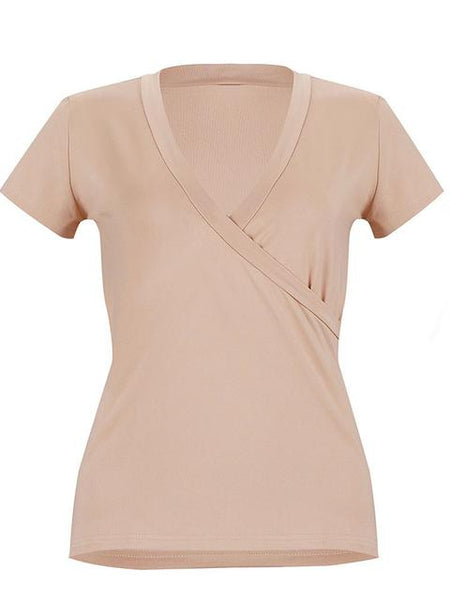 Solid V-neck Ruched Detail T-shirt